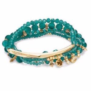 NWT Kendra Scott Supak Bead Bracelet Set GreenGold